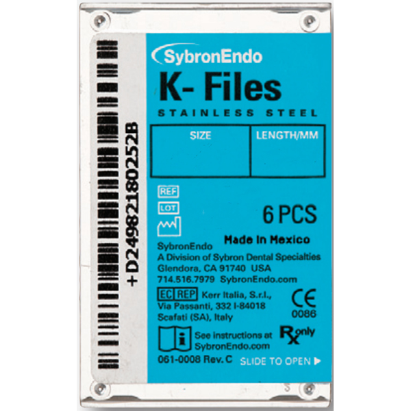 SybronEndo K-Files 25mm #08 6/Box. Stainless Stee