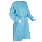 Starryshine Isolation Gown with Knit Cuff - Blue Disposable Non-Woven, 50/Pk