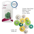 "Praxis Sandpaper Discs 3/8"" - ASSORTED 4 grits 30/Pk. POP-ON. For composite"