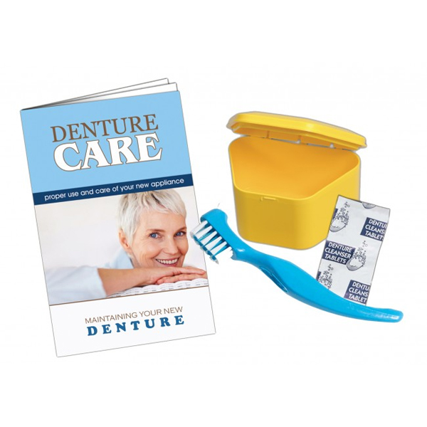 Tiger's Plastics Denture Care Kit - Assorted Colors - 72 kits/Box. 1 kit