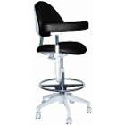 Mirage Assistant's Stool - Black Color. Featuring Abdominal Support, Vertical