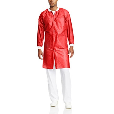 Extra-Safe Lab Coats - Red 5X-Large 10/Pk. Knee-L