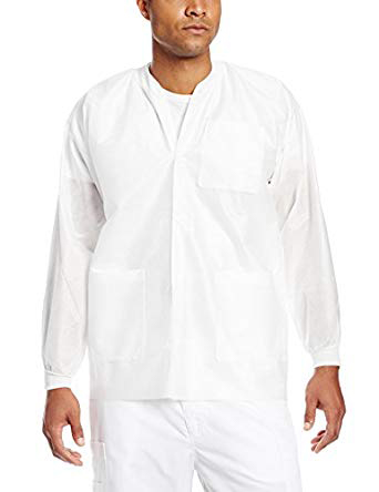 Extra-Safe Jacket - White X-Small 10/Pk. Hip-Length, Light-Weight, Breathable