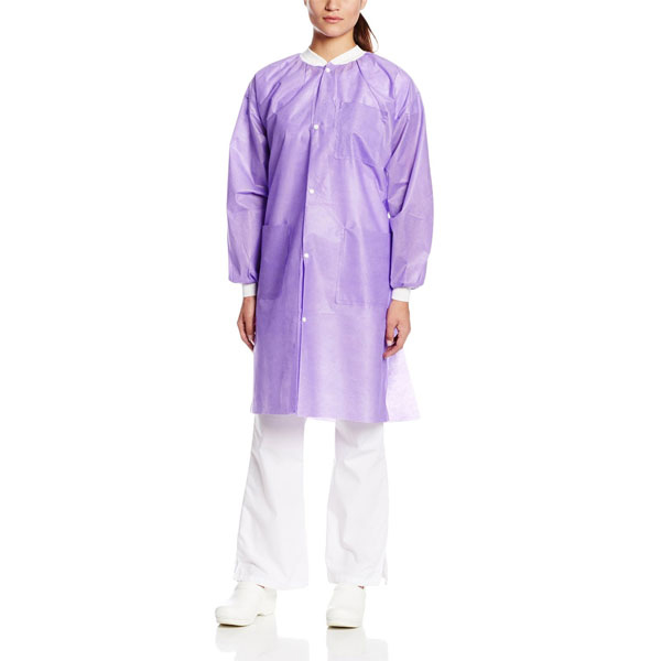 Extra-Safe Lab Coats - Lavender Medium 10/Pk. Kne