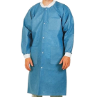 Extra-Safe Lab Coats - Ceil Blue Large 10/Pk. Knee-Length, Light-Weight