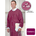 Extra-Safe Lab Coats - Cranberry Medium 10/Pk. Knee-Length, Light-Weight, Breathable