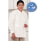 Extra-Safe Jacket - White Small 10/Pk. Hip-Length, Light-Weight, Breathable