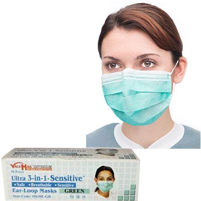 245a2c72 Ultra 3-in-1 Sensitive Ear-Loop Mask - GREEN, 50/Bx. ASTM Level 2 ...
