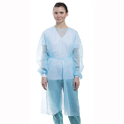 ValuMax Isolation Gowns Knit Cuff BLUE, 10/Pk. Disposable, knee-length, open