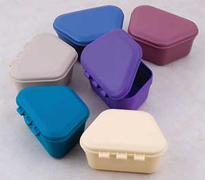 Zirc Blue Plastic Denture Box with Hinged Lid, 3-
