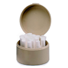 Zirc Beige Cotton Roll Holder With Stainless Pins, Weighted Bottom, Hold Cotton
