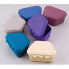 "Zirc Mauve Plastic Denture Box with Hinged Lid, 3-3/4""W x 1-3/4""D, Package of 12"