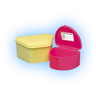 Zirc Plastic Denture Boxes in Assorted colors of Blue, Yellow, Mauve and Beige
